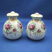 Hand Painted Roses Gold Trim Salt & Pepper Shakers
