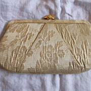 Gold Lame Floral Brocade Evening Bag Clutch