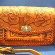 Hand Tooled Leather Floral Purse Small Mexico