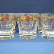 Libbey Greek Key Gold Decorated Tumblers Set of 8