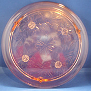 Jeannette Sunflower Pink Depression Glass Cake Plate Three Feet