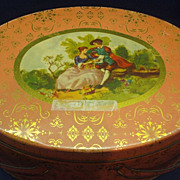 Salmon Orange-Pink Fragonard Scene Oval Tin Double Handle Basket