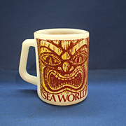 Sea World Milk Glass Advertising Mug Federal Glass