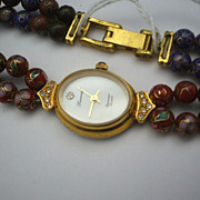 Leonard Diamond Quartz Cloisonne Beads Ladies Watch