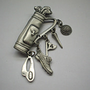 JJ Golf Bag Charms Pewter Tone Pin