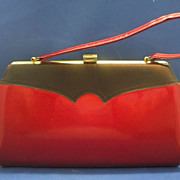 Dark Red Metallic Patent Leather Handbag Black Trim
