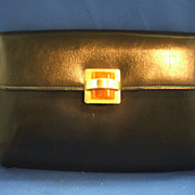 HL Harry Levine Black Clutch Purse Lucite Tile Clasp