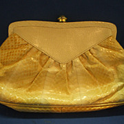 Neiman Marcus Blonde Cobra Snakeskin Clutch Purse 1980s