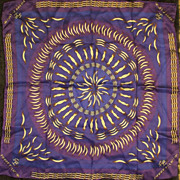 Pierre Balmain Paris Silk Scarf Royal Blue, Purple & Gold