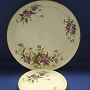 Stetson Purple Pansies Flowers Dinner & Bread Plates Gold Trim