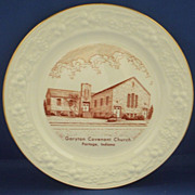 Homer Laughlin Eggshell Rust Transfer Church Plate Garyton Covenant