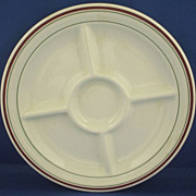 McNicol Restaurant Ware Divided Grill Plate 5 Section Red Green Trim