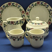 Sterling, Warwick Restaurant Ware Set Pink & Blue Flowers Cream, Sugar, Plates, Cups