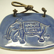 Elephant Embossed Tile Hanging &quot;Thanks in a big way&quot; Opechee Designs