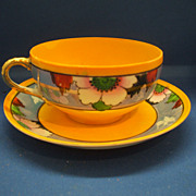 Japan Hand Painted Orange & Blue Luster Flowers Cup & Saucer