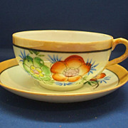 Japan Hand Painted Tan & Cream Luster Flowers Cups & Saucer