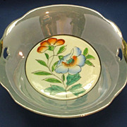 Japan Blue Luster Hand Painted Flowers Bowl Pierced Handles