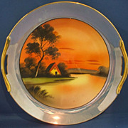 Noritake Luster Hand Painted Cake Plate Tree House Lake Scene