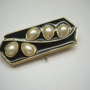 Trifari Black Enamel & Faux Pearl Pin