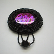 Black Glass Bead Fuchsia Abalone Oval Pin