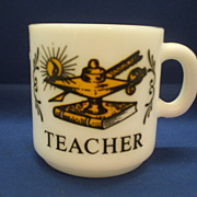 Teacher Hazel Atlas Milk Glass Small Mug