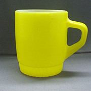 Fire-King Fired On Yellow Milk Glass Mug Ribbed Base
