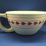 Strawberries Red on White Enamel Batter Bowl