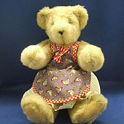 Vermont Teddy Bear Golden Brown Wearing Dress Apron Pinafore