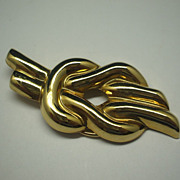 Jeri-Lou Gold Tone Knot Shaped Dress Scarf Clip