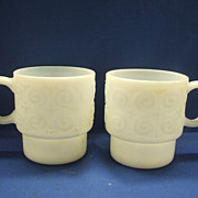 White Milk Glass Stacking Mugs Embossed Swirls Dots