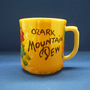 Fire-King Peach Luster Hand Painted Ozark Mountain Dew Souvenir Mug