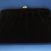 Black Velvet Clutch Evening Bag Large Rhinestone Clasp