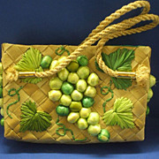 Straw & Raffia Green Grapes Purse