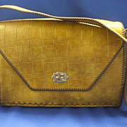 Brown Basketweave Embossed Vinyl Western Style Purse