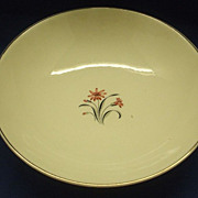 Salem China Pink Red Flower Grey Black Leaves Open Round Vegetable Bowl