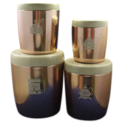 West Bend Pink Copper Colored Aluminum Canister Set Cream Lids