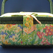 Bright Floral Fabric Sewing Box Basket Made in Philippines