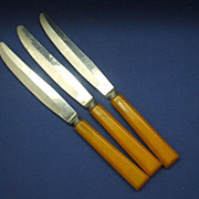Forgecraft Bakelite Handle Table Knives Set of Three