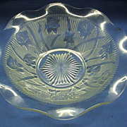 Iris & Herringbone Clear Jeannette Glass Serving Bowl 10""