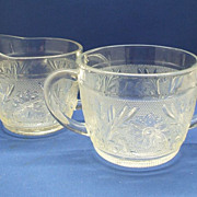 Anchor Hocking Clear Glass Sandwich Cream & Sugar
