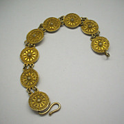 Etruscan Style Gold Wash Sterling Disc Coin Bracelet