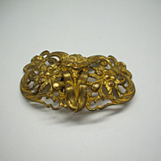 Art Nouveau Dress Clips Gold Tone Floral Fishel & Nessler