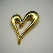 Monet Gold Tone Heart Open Pin