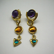 Colorful Drop Earrings Purple, Amber, Green