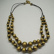 Brushed Brass Beads Necklace Double Strand