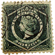 *1854 Postage Stamp: New South Wales 5 Pence with Watermark