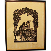 Pre 1924: Signed,Cut and Paste Romantic Conversation Silhouette