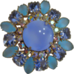 Circa 1950's: Stunning Sea Glass and Faux Moonstone Brooch