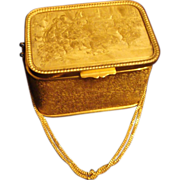 REDUCED Deeply Etched French Salon Scene, Gilt Box Purse