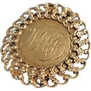 Circa 1890 : Engraved Sterling Silver Pendant / Belt Buckle